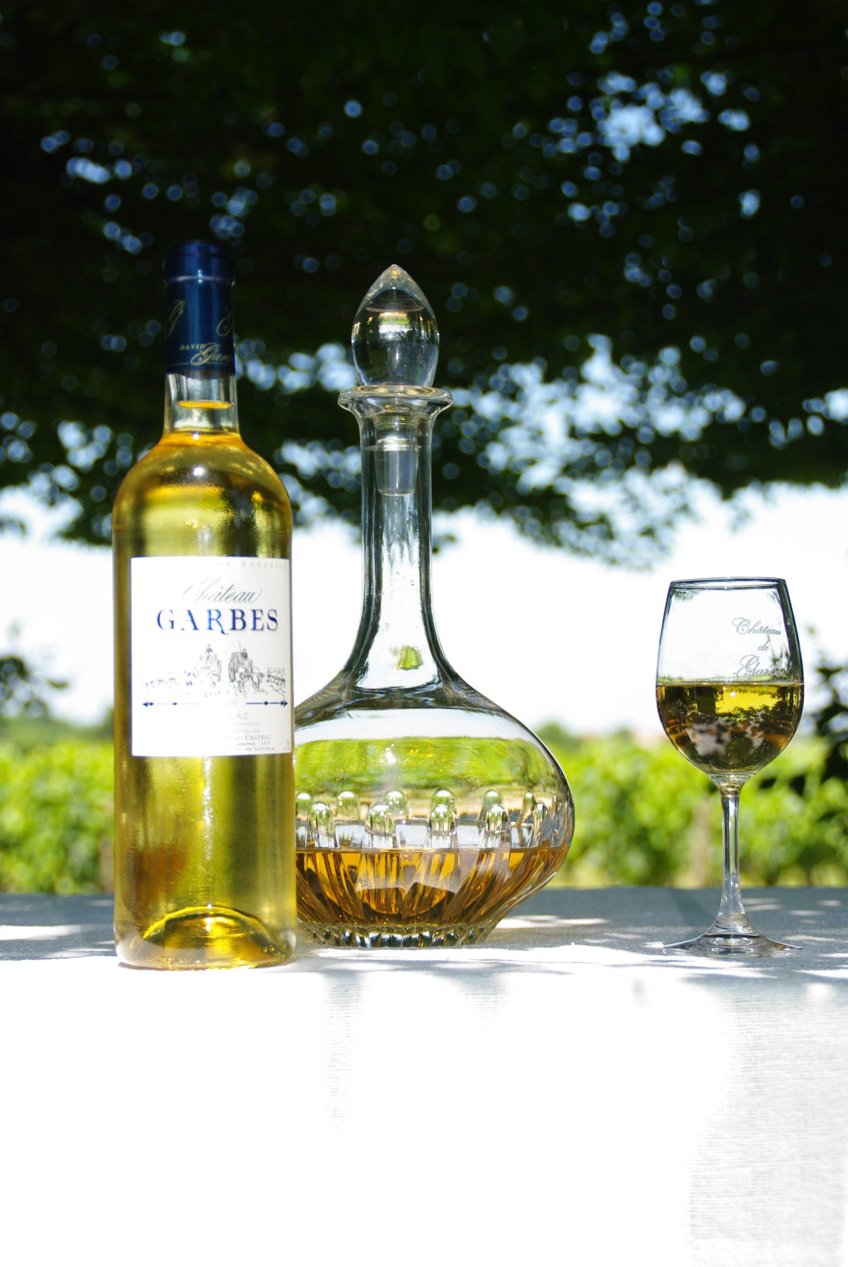 carafe vin blanc doux Cadillac cuvée traditionnelle château de Garbes