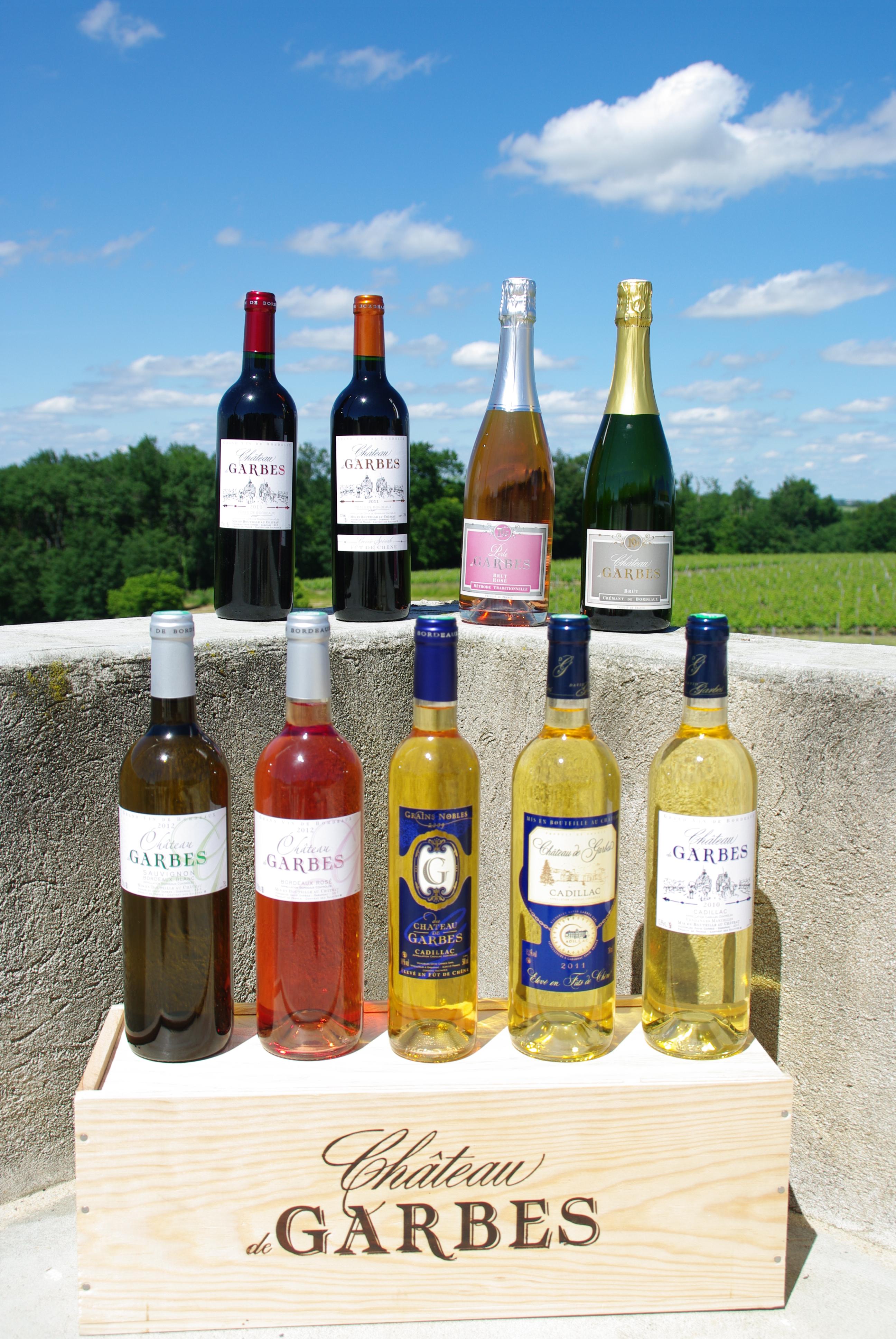 gamme vins du château de Garbes côtes de bordeaux rouge et cadillac