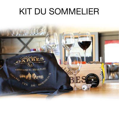 Kit du sommelier : Tire-bouchon + 6 verres + Stop Goutte + Bouchon en verre + Tablier
