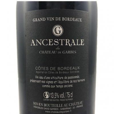 Côtes de Bordeaux Rouge – Cuvée Ancestrale 2018 75cl